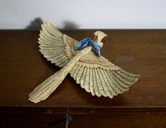Hand made paper and wood Cardinal with scarf by ZackMclaughlin