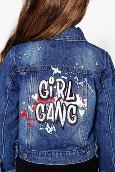 Girls Slogan Back Denim Jacket