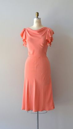 Summer Melon silk dress vintage 1970s dress coral by DearGolden