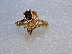 Vintage Avon Faux Amethyst Ring, Art Deco Design, size 9, Gold Tone, 1970's #Avon #birthstoneorfashion