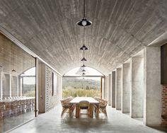 the mont ras winery - girona jorge vidal arquitectos architecture B720, Barrel Vault Ceiling, Concrete Ceiling, Space Architecture, Public Architecture, Architecture Awards, Vaulting, Interior Decorating, Interior Design