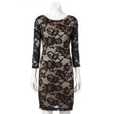 Women's Ronni Nicole Contrasting Lace Sheath Dress, Size: