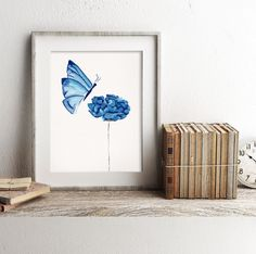 Original Watercolour Print, Butterfly watercolor, Blue floral nursery, Butterfly nursery, girl's room, Baby shower, gift for teen daughter