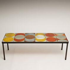 Roger Capron - Ceramic tile top coffee table (Vallauris), circa 1960.  http://www.galerieriviera.com