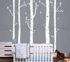 Birch Tree Decal with Flying Birds, Birch trees, Birch forest, Birch Trees Wall Vinyl for Nursery, Living Room, Kids or Childrens Room 007