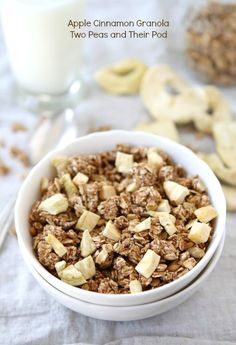 Apple Cinnamon Granola Homemade Granola Recipe Two Peas Their Pod Cinnamon Granola Recipe, Cinnamon Apples, Dried Apples, Dried Cranberries, Apple Recipes, Fall Recipes, Yummy Recipes, Vegan Recipes, Healthy School Snacks