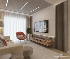 Living room / TV In this project we use ripadinho in a different way, in addition to . Flur Design, Hall Design, Living Room Interior, Home Interior Design, Living Room Decor, Lcd Panel Design, Living Room Tv Unit Designs, Modern Tv Wall Units, Bedroom Bed Design
