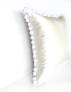 Ivory Silk White Pom Pom Bobble Trim Handmade Cushion - Various Sizes