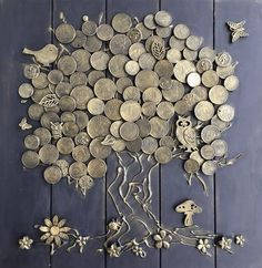 Money tree (good luck) the most effective talisman of wealth in Chinese teaching Feng Shui. Decorate by this talisman the house and draw prosperity into your life! We used wooden base,tree trunk made of natural wood bark and to crown used these coins of Button Art, Button Crafts, Coin Crafts, Wood Bark, Talisman, Coin Art, Money Trees, Lucky Charm, Diy Wall Art