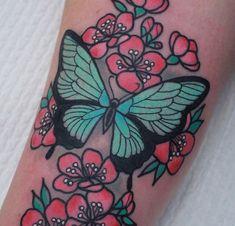 Butterfly/flower tattoo.