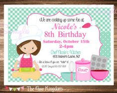 PRINTABLE Little Chef Birthday Party Invitation / Pizza, Cooking, Baking / Choose Hair Color & Boy or Girl / Red and Blue / You Print by ciaobambino