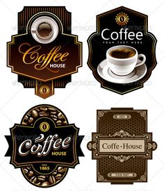Four coffee design templates. All elements are grouped.ALL TEXT - Coffee Icon - Ideas of Coffee Icon - Four coffee design templates. All elements are grouped.ALL TEXT IS CURVE ! Another Vectors Isolated ObjectsDesign I Love Coffee, My Coffee, Coffee Drinks, Coffee Corner, Coffee Labels, Cappuccino Coffee, Black Coffee, Coffee Icon, Coffee Art