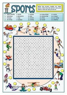 Sports wordsearch english (crosswords) sport english, kids english и teachi Sport English, English Class, English Lessons, Teaching English, Learn English, Kids English, English Games, English Activities, Sports Activities