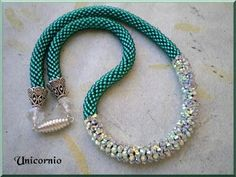 Beaded crochet necklace - bro