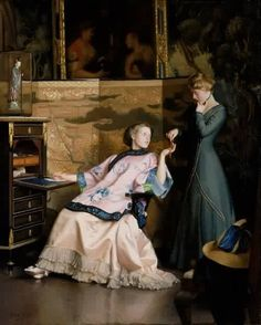 """""""The New Necklace"""" (1910) by William McGregor Paxton (1869-1941), American Impressionist painter."""