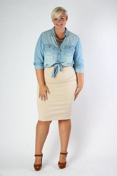 Plus Size Clothing for Women - Yacht Club Pencil Skirt - Sand - Society…