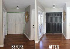 Black door before and after. Painting inside of front door black.
