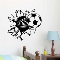 2015 New Football home decor wall sticker /party kids room decoration mural art /adesivo de parede for friends Boys Wall Stickers, Kids Room Wall Decals, Room Stickers, Wall Stickers Home Decor, Boys Room Decor, Vinyl Wall Decals, Creative Wall Decor, Creative Walls, Football Wall