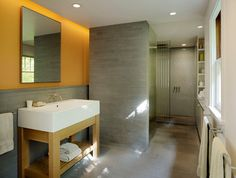 #YellowandGray beautiful together. Modern bathroom by Buttrick Wong Architects