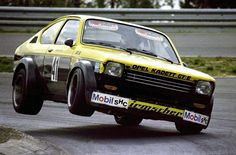 Walter Röhrl on two wheels in the Opel Kadett GT/E  at the Super Sprint 1976