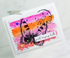 Gelatos watercolor butterfly background card. For this card, I am sharing a way to add a Gelatos watercolor background with stamping.