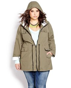 Don't let rainy (or snowy) days dampen your style. Khaki hooded plus-size anorak.