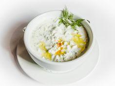 Cacik: chilled, refreshing cucumber-yogurt soup w/garlic, dill