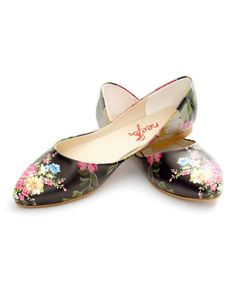 Take a look at this Neefs Black Floral Printed Flat today!