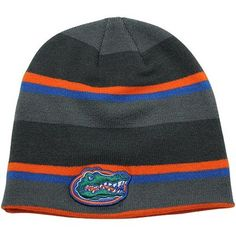 Nike Florida Gators Youth Striped Knit Beanie - Gray/Orange/Royal Blue