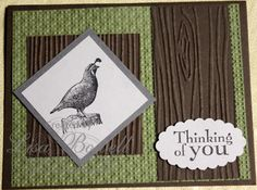 This is another masculine card made using Stampin' Up! Walk in the Wild stamp set.  I also used the Big Shot and a few embossing folders to give it a fun look! Made by Lisa Bowell- Stampin' Up! Demonstrator @ lisastamps.com