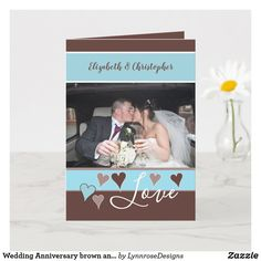 Wedding Anniversary brown and blue with name Card Wedding Anniversary Greeting Cards, Happy Anniversary, Name Photo, Photo S, Custom Greeting Cards, Name Cards, Holiday Photos, Thoughtful Gifts, Love Heart