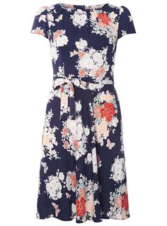 27de7405fd60   Billie  amp  Blossom Navy Floral Print Skater Dress Going Out Dresses