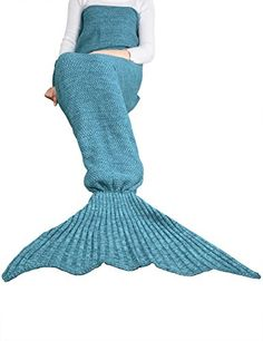 """IMUZYN Knitted Mermaid Tail Blanket for Adults 78""""45""""Crochet Sleeping Bag Super Soft for All Seasons Fish Scale Sleeping Blanket for Living Room, Bedroom And Sofa Adult Blue * Want to know more, click on the image. #KidsBeddingSetsCollections"""