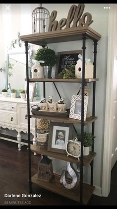 """Love this shelf and the """"hello"""" wood sign."""