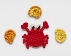 Téléchargement immédiat - PDF Crochet Pattern - crabe & conque appliques - texte instructions et directives de symbole graphique