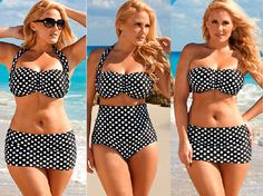 Curvy Fashion Find of the Day: Plus Size Polka Dot Bikini from http://www.swimsuitsforall.com