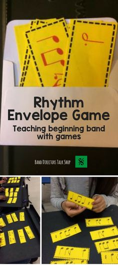 Click here to learn how to play the band rhythm envelope game! Great to use for use with beginning band students and as a rhythm review with older band members. This game is also an excellent assessment tool. http://banddirectorstalkshop.com/2016/01/17/rhythm-envelope-game/