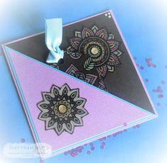 Pocket card - Designed by Hayley Warren  Colorista dark pad - Moroccan life  Colorista dark tag book- Moroccan life.  #spectrumnoir #crafterscompanion #coloristadark