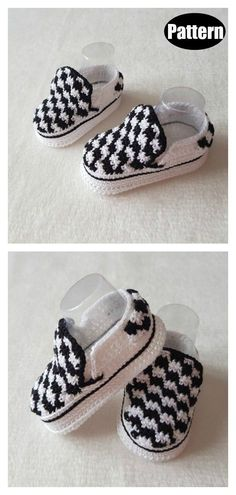 Vans Style Baby Booties Crochet Pattern – Baby For look here Booties Crochet, Crochet Baby Boots, Crochet Baby Clothes, Crochet For Boys, Crochet Shoes, Crochet Slippers, Boy Crochet, Crochet Converse, Baby Booties Knitting Pattern