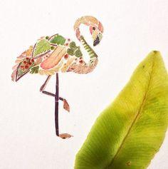 Helen Ahpornsiri I Pressed Fern Leaf Illustration I Flamingo