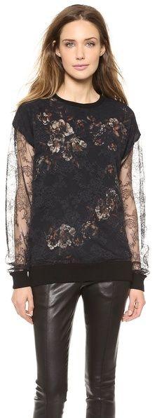 Jason Wu Lace & Print Silk Top on shopstyle.com