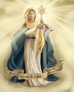 """Ave Verum Corpus, natum de Maria Virgine"" Our Lady of the Blessed Sacrament via papersunrise. Beautiful picture of Our Lady of the Blessed Sacrament. Blessed Mother Mary, Blessed Virgin Mary, Divine Mother, Image Jesus, Images Of Mary, Queen Of Heaven, Sainte Marie, Holy Mary, Daughters Of The King"