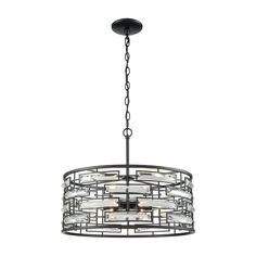 Lineo 6 Light Chandelier In Matte Black With Clear Crystal by Elk Lighting Group