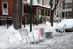 The classiest way to reserve your parking spot. This may be a Chicago thing, if you clean the street of snow and put a chair,  table whatever it's your parking spot!