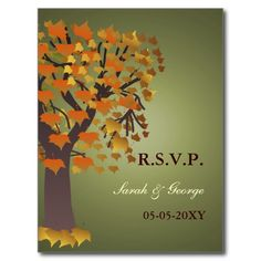 Autumn Wedding rsvp card Postcards