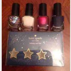 Kate spade holiday nail set New in box never used  Price firm  Limited edition .22 fl oz each 4 shades kate spade Makeup