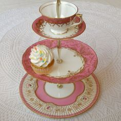 Hot Bright Pink 3 Tier Cupcake Tower, Cake Plate, Tiered Tidbit Tray, Jewelry Stand Holder, Mad Hatter Tea Party Centerpiece Serving Platter, Dessert Pedestal or or Alice in Wonderland Wedding Candy Bar Buffet Display of Antique English China Plates with Vintage Cup and Saucer from England by High Tea for Alice
