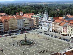 Plaza Premysl Otakar II desde la Torre Negra de Ceske Budejovice en República Checa