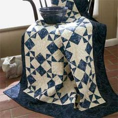 Moonlight Stars: Quick Classic One-Block Lap Quilt Pattern FREE
