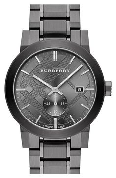 Burberry Check Stamped Bracelet Watch, Bold texture and a sub seconds dial update Burberry's classic check-stamped dial on a clean, handsome bracelet watch with a smooth, brushed-metal finish. Stainless Steel Watch, Stainless Steel Bracelet, Cool Watches, Watches For Men, Black Watches, Stylish Watches, Women's Watches, Patek Philippe, Stil Inspiration
